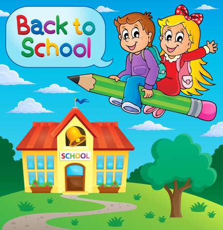 school illustration: School kids theme image 9 - vector illustration.