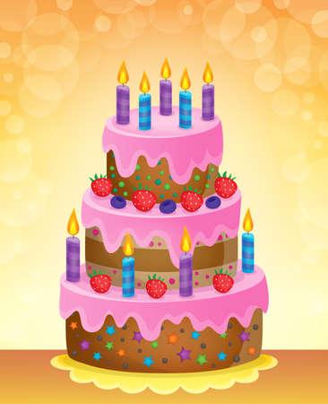 festive occasions: Birthday cake theme image 5 - vector illustration. Illustration
