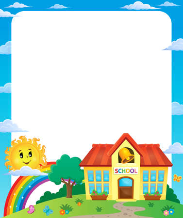 educative: School building theme frame 1 - vector illustration. Illustration