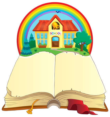 composition book: Open book and school building - vector illustration. Illustration