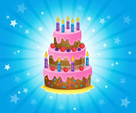 festive occasions: Birthday cake theme image 3 - vector illustration.