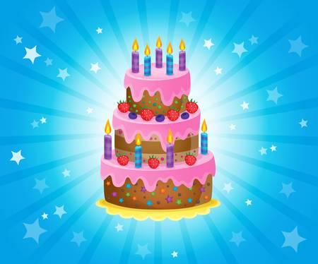 huge: Birthday cake theme image 3 - vector illustration.