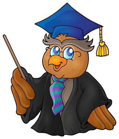 테마: Owl teacher theme image 5 - vector illustration. 일러스트