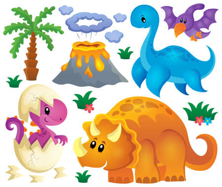 volcanos: Dinosaur theme set 2 - vector illustration.