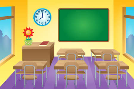school class: Classroom theme image 1 - vector illustration. Illustration
