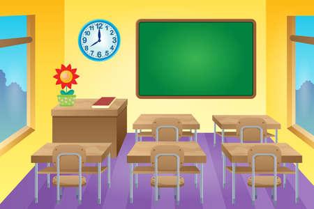 salon de clases: Imagen del tema Aula 1 - ilustración vectorial.