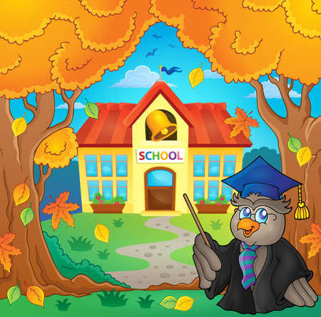 house robes: Owl teacher near school building theme 2 -  vector illustration.