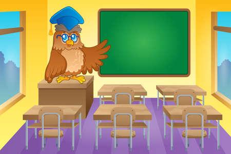 educative: Classroom with owl teacher -  vector illustration.