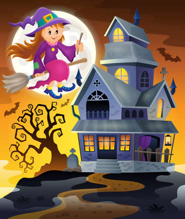 haunted tree: Image with haunted house thematics 9 -  vector illustration. Illustration