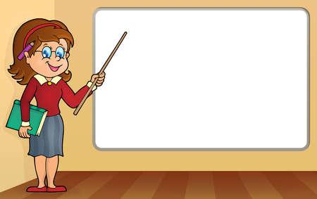 woman teacher: Woman teacher standing by whiteboard