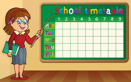School timetable with woman teacher