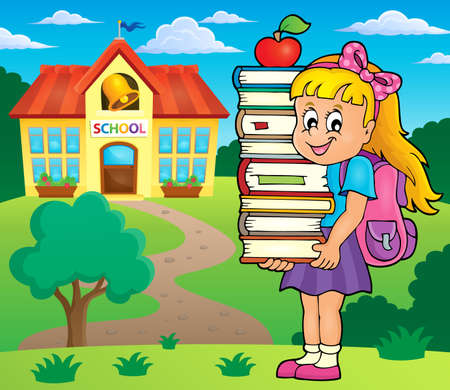 schoolbook: Girl holding books theme image