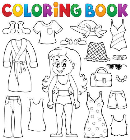 Coloring book girl with clothes theme