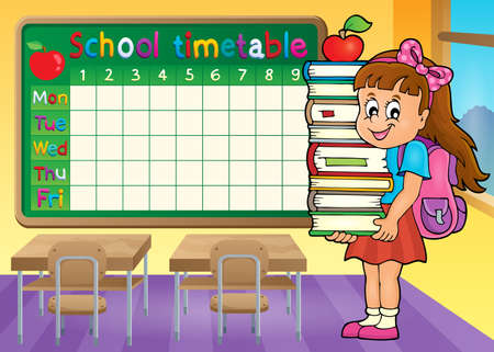 classes schedule: School timetable with girl holding books
