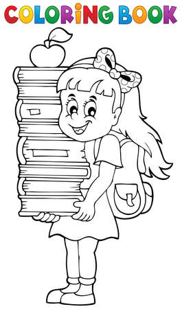 schoolkids: Coloring book with girl holding books