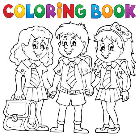 pupils: Coloring book with school pupils