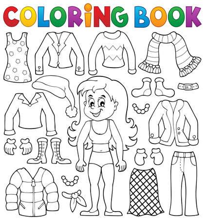 neckscarf: Coloring book girl with clothes theme