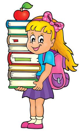 Girl holding books theme image