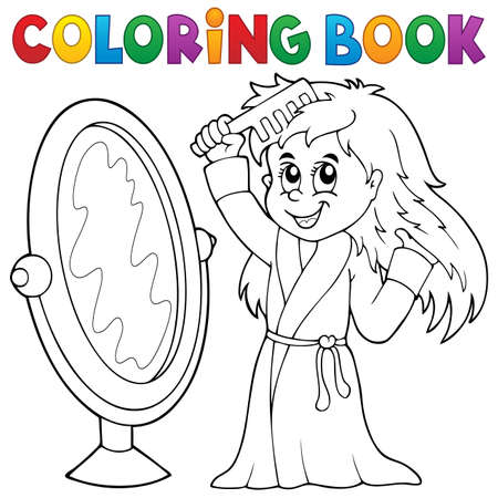 combing: Coloring book girl combing hair theme  Illustration