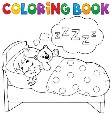 sleeping child: Coloring book sleeping child theme