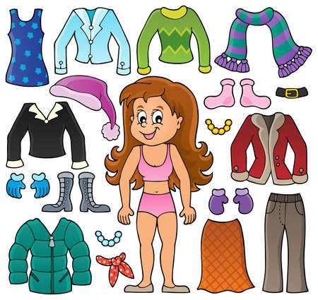 child drawing: Girl and clothes theme set