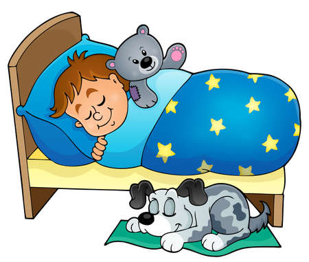 dog sleeping: Sleeping child theme image  Illustration
