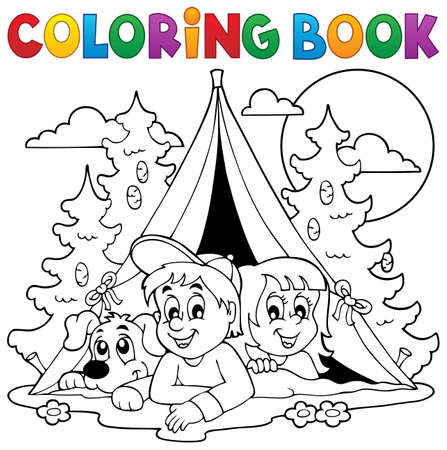 Coloring book kids camping in forest - eps10 vector illustration. Stock Illustratie