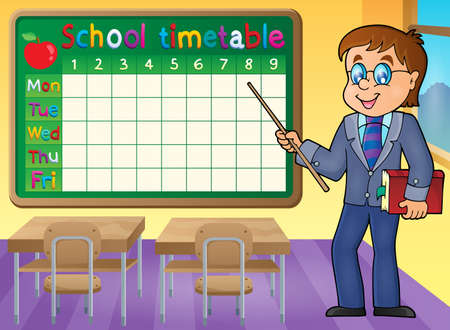 classes schedule: School timetable with man teacher - eps10 vector illustration.