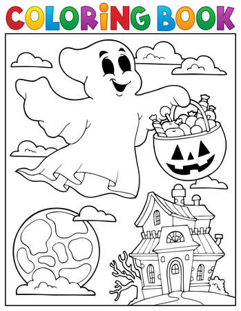 haunted house: Coloring book ghost theme 5 - eps10 vector illustration.