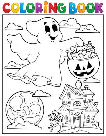 casita de dulces: Libro para colorear fantasma tema 5 - ilustraci�n vectorial eps10.