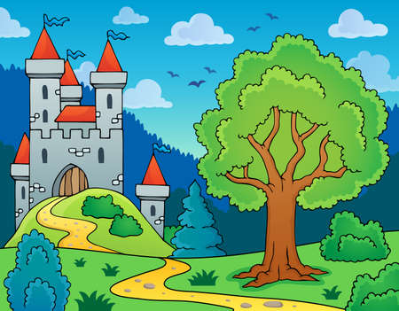 fortified: Castle and tree theme image - eps10 vector illustration.