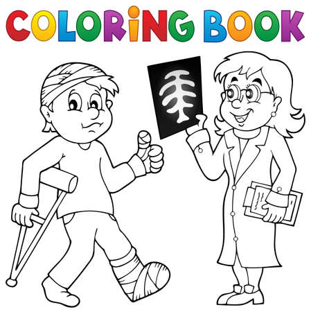 casts: Coloring book doctor attending patient - eps10 vector illustration.