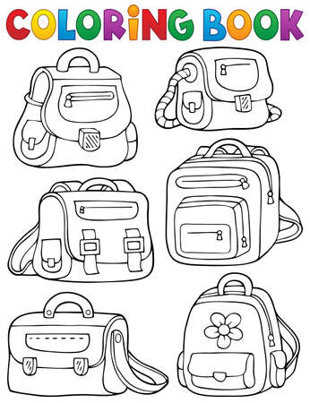 objects: Coloring book school bags theme 1 - eps10 vector illustration.