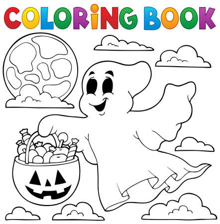 spooky: Coloring book ghost theme 3 - eps10 vector illustration. Illustration