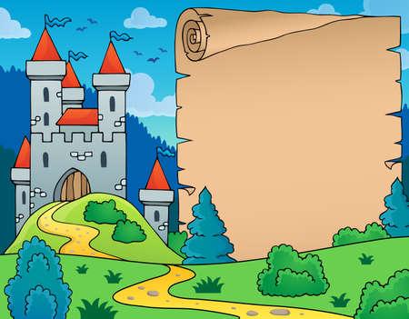 castle: Castle and parchment theme image - eps10 vector illustration.