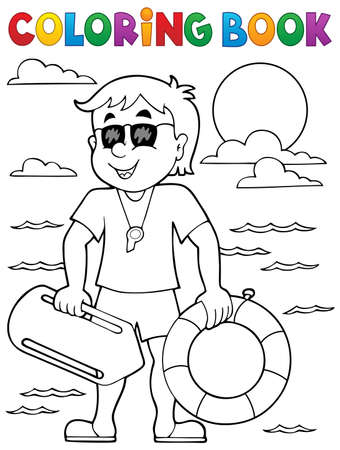life guard: Coloring book life guard theme 1 - eps10 vector illustration.