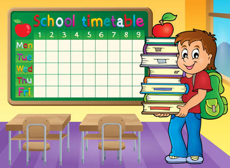 classes schedule: School timetable with boy holding books - eps10 vector illustration.