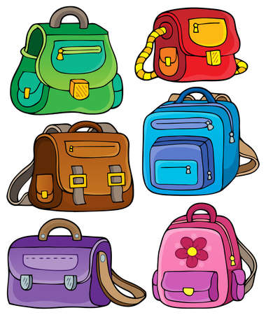 packsack: School bags theme set 1 - eps10 vector illustration. Illustration