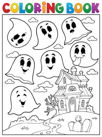 haunted: Coloring book ghost theme 4 - eps10 vector illustration.