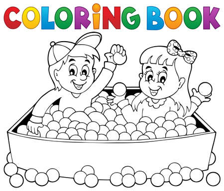 child ball: Coloring book happy playing children - eps10 vector illustration. Illustration