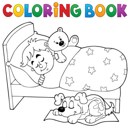sleeping child: Coloring book sleeping child theme 2 - eps10 vector illustration. Illustration