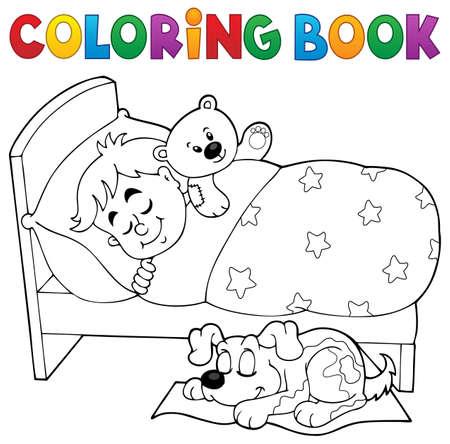 Coloring book bambino che dorme Tema 2 - illustrazione vettoriale eps10.