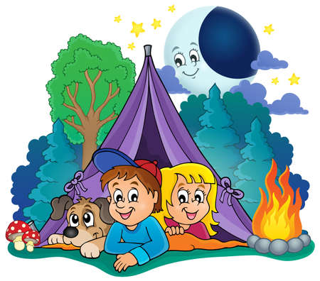 puppy: Camping theme image 4 - eps10 vector illustration.