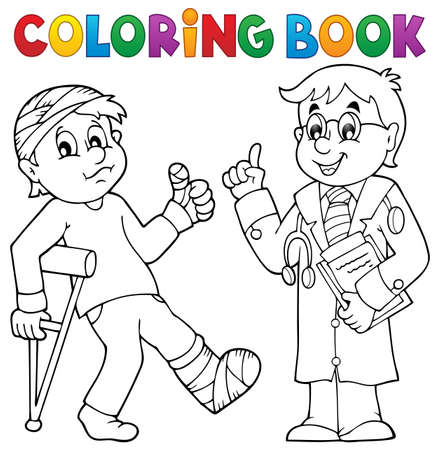leg bandage: Coloring book with patient and doctor - eps10 vector illustration. Illustration