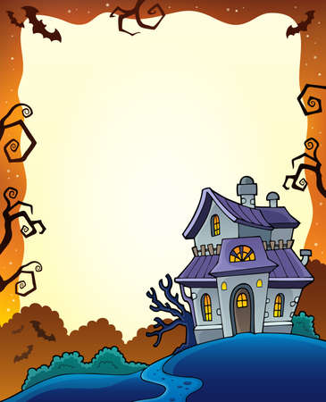 haunted: Halloween frame with haunted house 1