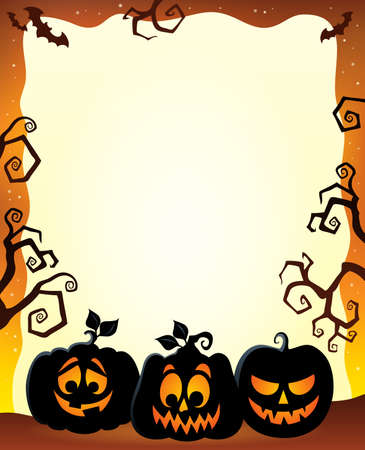 Frame with Halloween pumpkin silhouettes