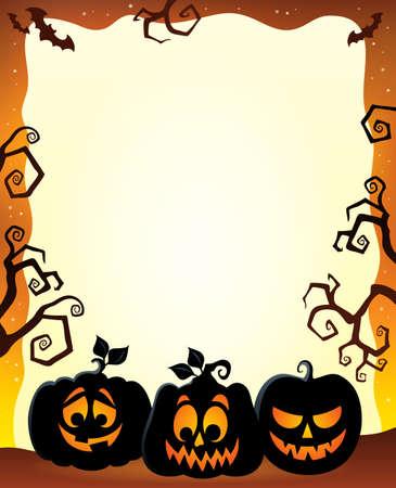 Frame with Halloween pumpkin silhouettes 免版税图像 - 44103012