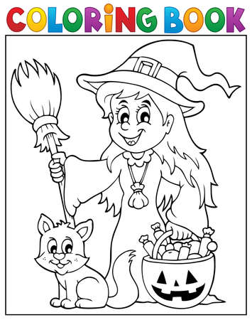 Coloring book cute witch and cat  Stock Illustratie