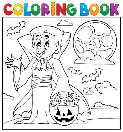 vampire teeth: Coloring book with Halloween vampire