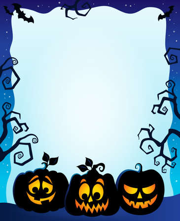Night frame with pumpkin silhouettes
